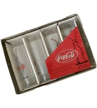 Coca Cola Glass Set Anchor Hocking Company In Metal Tray 4 13 Oz New Sealed - $19.79