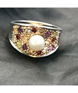 Estate Colorful Rhinestone Encrusted 925 Marked Wide Tapered Concave Band w Cent - $22.29