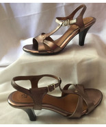Sofft Womens 8.5 Goldtone Patent Leather T Strap Open Toe Ankle Strap Shoes - $16.79