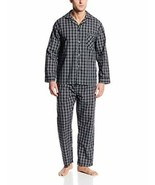 Hanes Ultimate Men's Pajama Set Big & Tall Broadcloth Black Pla Size 2XL... - £25.53 GBP