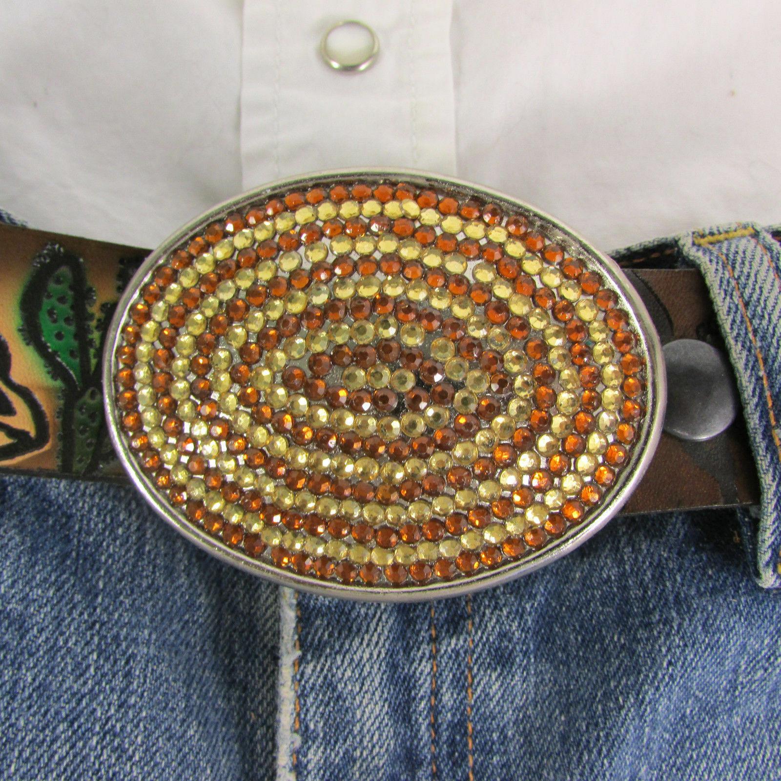 Mode Cowgirl Homme Femme Boucle Ovale Western Métal Argent Marron Strass image 3