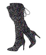 Stupmary Women Pointed Toe Sparkle Sequins Over The Knee Boots Winter St... - $65.07