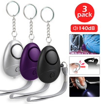 3 Pack Emergency Personal Alarm Keychain 140dB Safe Self-Defense with LE... - $11.75