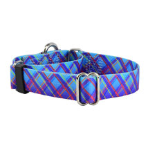 2Hounds Collar with Leash Large Twilight Glow Blue Plaid NEW! image 1