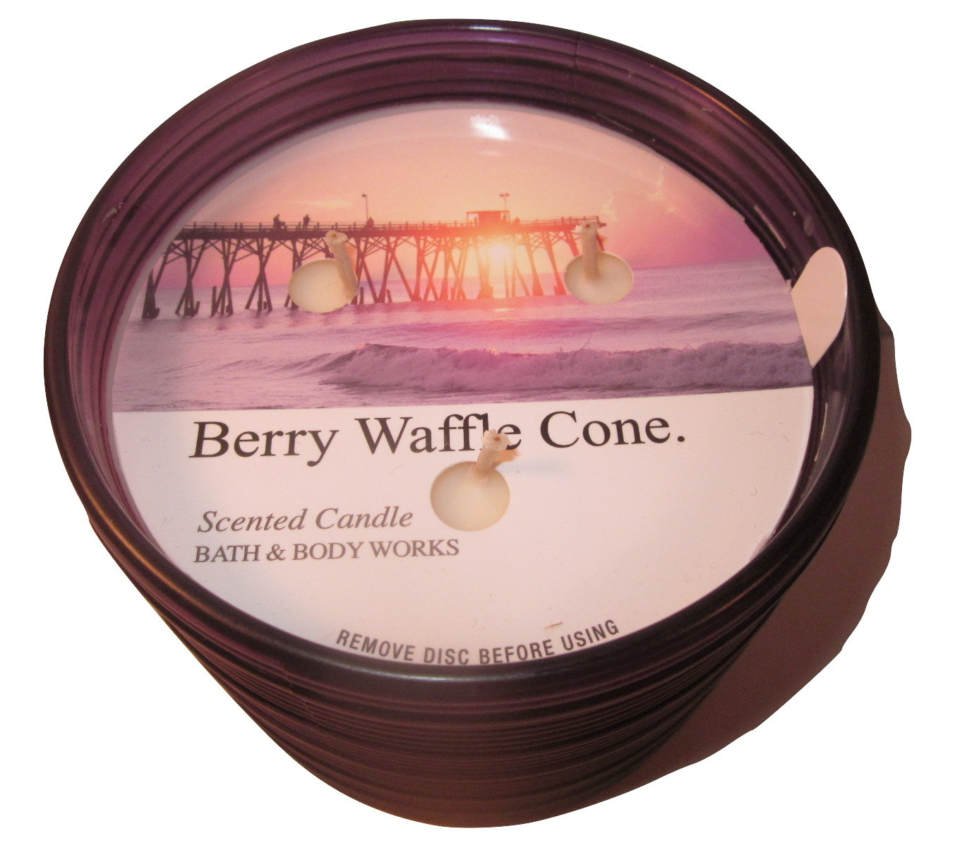 Bath & Body Works 3 wick 14.5 oz Candle Purple Spun Glass  Berry Waffle Cone
