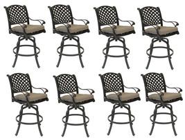 Nassau bar stools Set of 8 swivel outdoor patio furniture cast aluminum. image 1