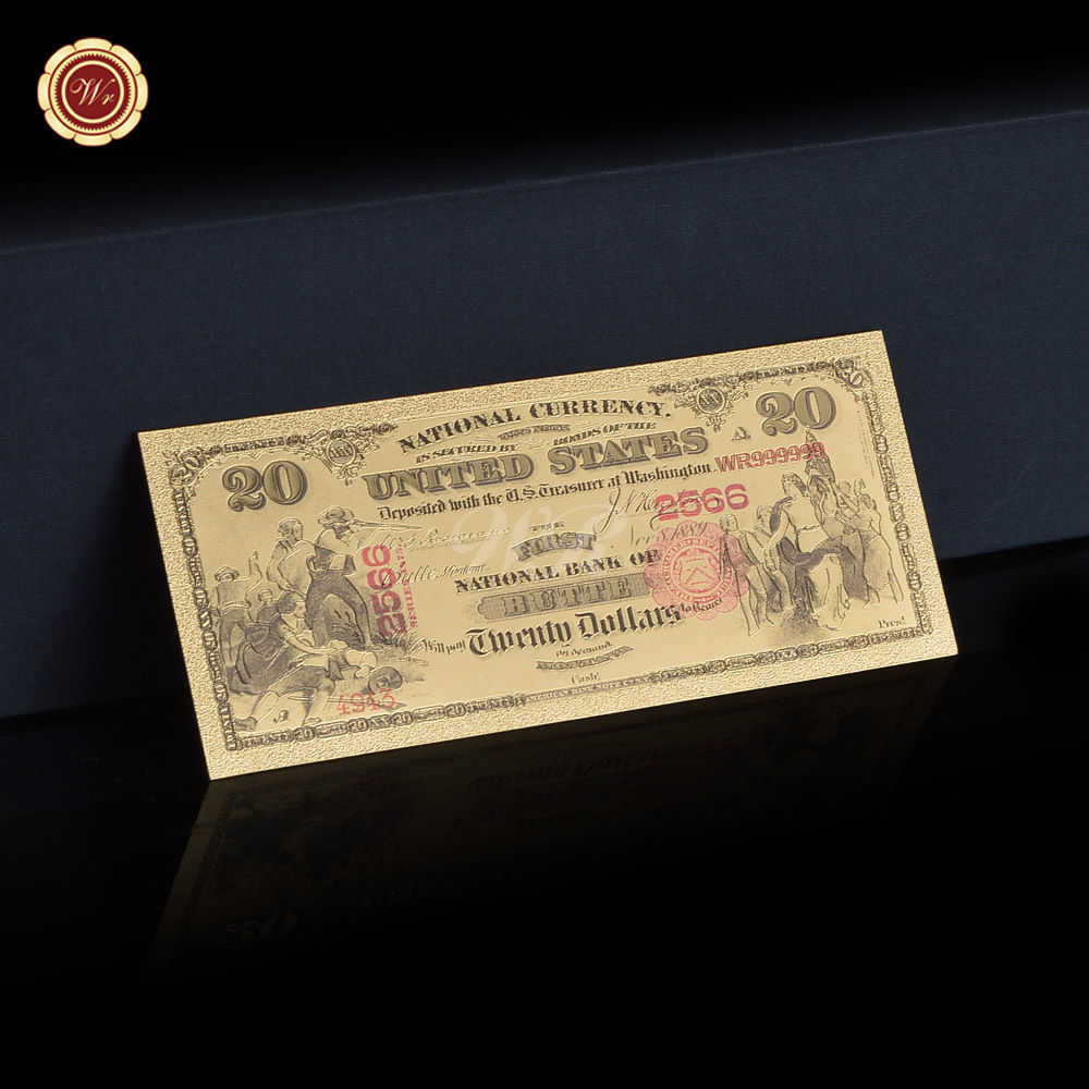 24K GOLD FOIL PLATED 1875 $1000 DOLLARS GOLD BANKNOTE NOVELTY MONEY W//SLEEVE