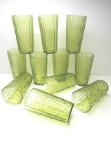 """11 VTG Anchor Hocking Tahiti Bamboo Avocado Green 5 1/2"""" Tall MCM Glass ... - $68.97"""
