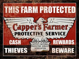 Cappers Farmers Insurance Classic Farm Tractor Metal Sign - $17.95