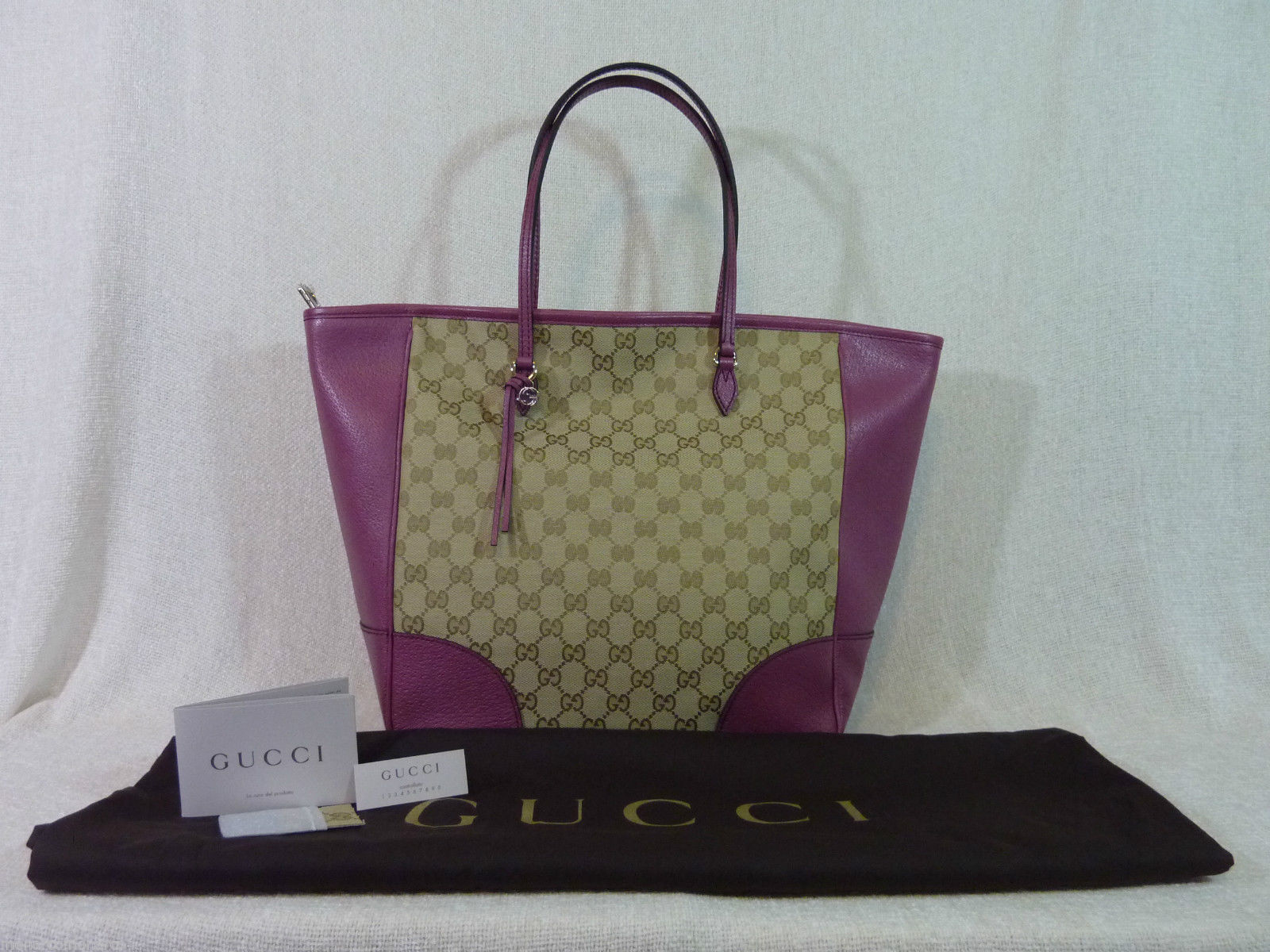 AUTH NWOT GUCCI Beige/Ebony/Dusty Rose Canvas/Leather Bree GG Tote image 5
