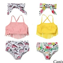 New Dinosaur Tassel Swimwear Suit Infant Kids Baby Girl Beach Outfits - $11.99