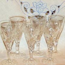 """VINTAGE STUART CUT CRYSTAL ELLESMERE SHERRY GLASSES 5 1/4"""" SET 6 GOBLETS... - $184.99"""