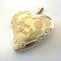 "Vintage 14k Gold Heart ""I Love You"" Photo Heart Locket Pendant Charm - $19.79"