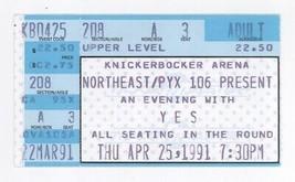 RARE Yes the band 4/25/91 Albany NY Knickerbocker Arena Ticket Stub! - $7.99