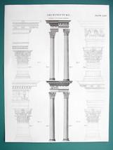 ARCHITECTURE Roman Corinthian Order Capitals etc - c. 1830 Fine Quality ... - $21.60