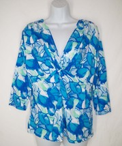 Nwt New Fresh Produce Ocean Waters Twist Front Top Blue L Large Rayon - $26.99