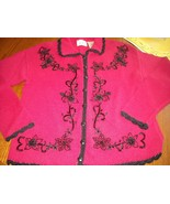 Women's Vintage Kathie Lee Sweater Red With Black Crochet Trim Beads & B... - $32.50