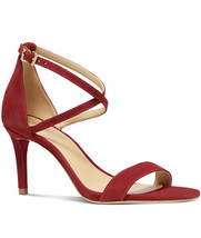 Nib Michael Ava Strappy Buckled Sandal - Suede Scarlet Size 8.5 - $64.34