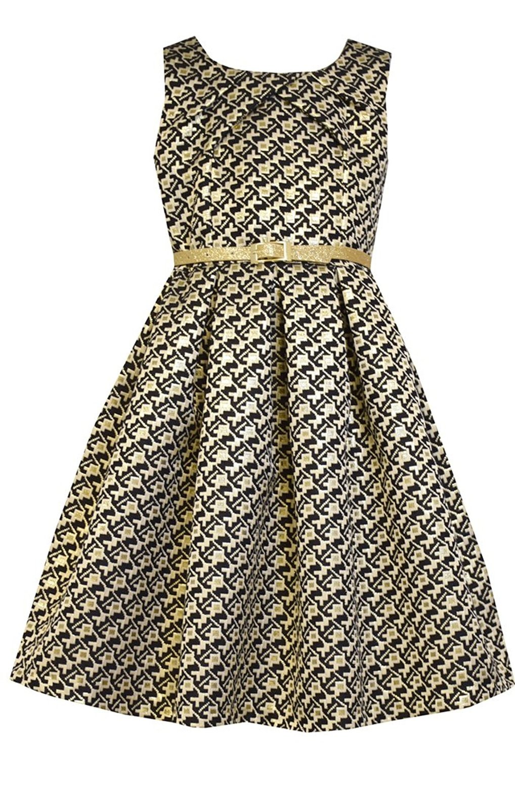 Little Girl Metallic Geometric Brocade Social Party Dress