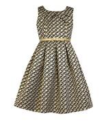 Little Girl Metallic Geometric Brocade Social Party Dress - $42.95
