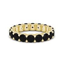 3.55 Carat Natural Black Diamond Full Eternity Wedding Band Ring 14K Yel... - $608.80
