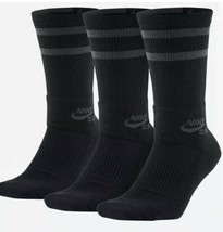 Nike SB Dry Fit Crew Skateboarding Socks 3 Pair Large Black SX5760-010 S... - $17.59