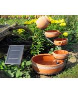 Garden Fountain Cascade 5 Tiered Ceramic Pot Solar Outdoor Waterfall Dec... - $148.49