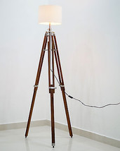 Timber Nautical Tripod Floor Lamp industrial table light home decor  - $92.57