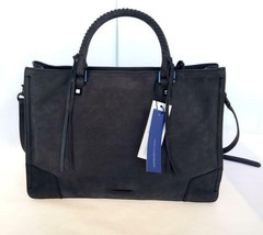 NWT Rebecca Minkoff Regan Satchel Tote Black Nubuck Leather #HR25MNUS31/  $325 - $159.99