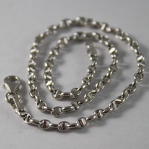 18K WHITE GOLD, OVAL NAVY MARINER BRACELET, 7.50 INCHES, 19 CM, MADE IN ITALY image 2