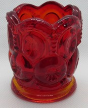 """VINTAGE L.E. SMITH MOON AND STARS TOOTHPICK HOLDER~RED AMBERINA 2.5"""" - $12.86"""