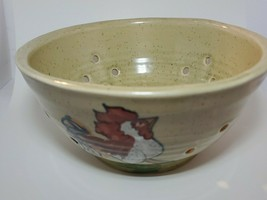 Emerson Creek Pottery Bedford VA 2010 Collander Handpainted Rooster - $19.71