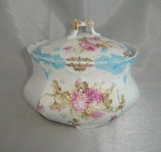 WEIMAR (Germany) Large Blue/White/Purple & Gold Floral Covered Porcelain... - $19.50
