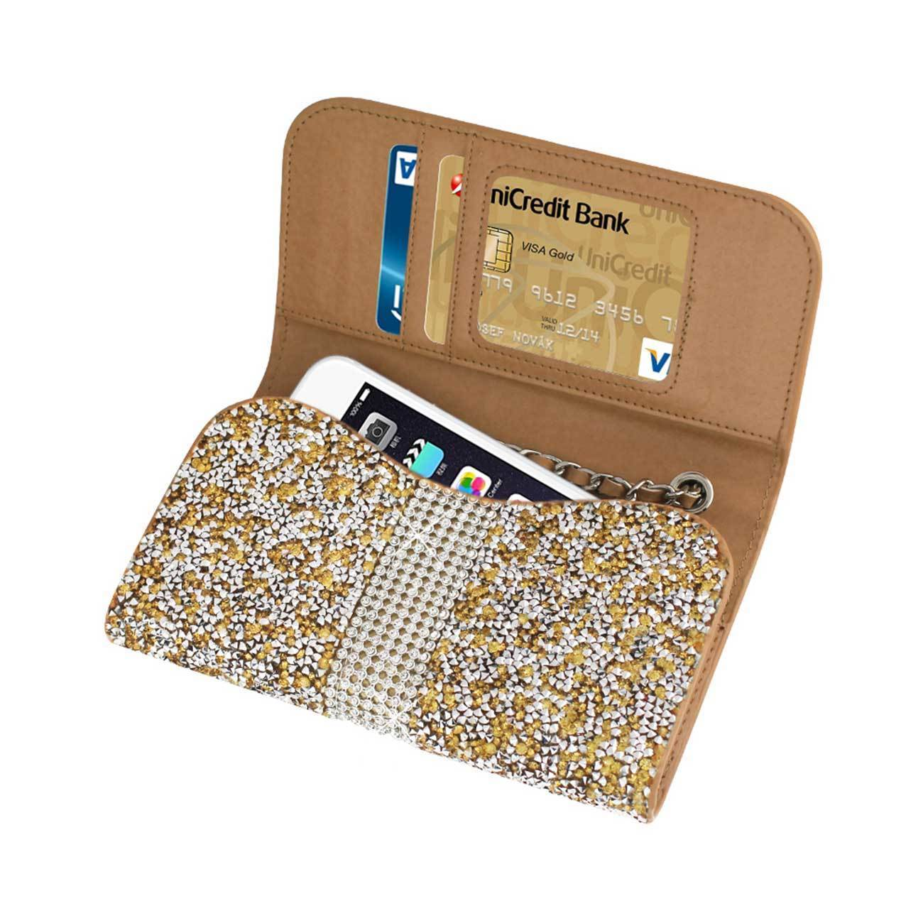 Diamond Bling Credit Card Gold Wallet fits LG K8 (2018)