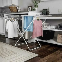 Extendable Clothes Drying Rack Metal White Plastic Rust Resistant Laundr... - $47.84
