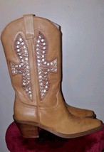 Walk In Style Tan Studded Women's Cowboy Boots Size 8 - $69.99