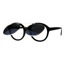 Flip Up Sunglasses Clear Lens Glasses Round Retro Unisex Fashion Shades - $12.95