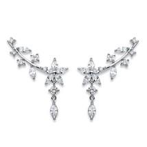 3.25 TCW Marquise-Cut Cubic Zirconia Silvertone Floral Ear Pin Earrings - $20.99