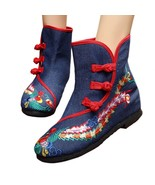 Vintage Beijing Cloth Shoes Embroidered Boots 12-03   blue  35 - $37.99