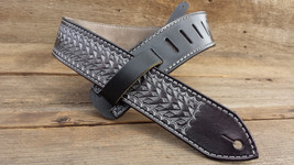 NEW Leather Hand Tooled Guitar Strap ~ Silver Razor Design - $179.00