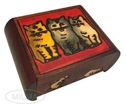 Three Cats Secret Wooden Keepsake Box Polish Handmade Jewelry Box - €37,65 EUR