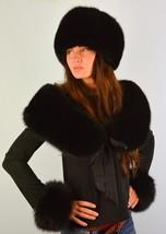 Premium Saga Furs Jet Black Fox Fur Fancy Hat Wristbands Shoulder Wrap C... - $185.07+