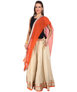 Golden Jaipuri Skirt with Orange Dupatta - SNY18236 - $26.00