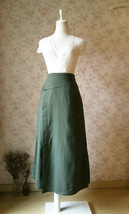 ARMY GREEN Boho Skirt Loose Long Linen Wrap Skirt Army Green Linen Skirt Outfit  image 3
