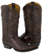 Mens Brown Smooth Real Crocodile Belly Skin Leather Cowboy Boots Western... - $284.99