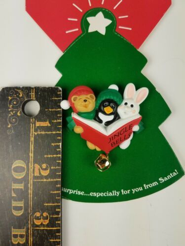 Hallmark Holiday Christmas Pin Jingle Bells Animal Carolers Bunny Penguin Bear image 3