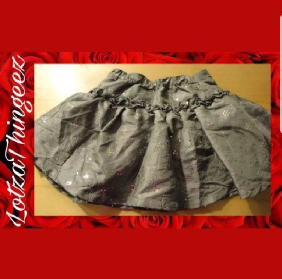 New Children's Place Skirt with Bloomers Grey Silver Dots Velvet Bows 18 Mos