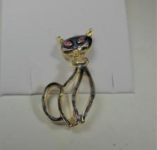 Blue Enamel Cat Pin Brooch - $12.86