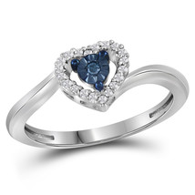 10k White Gold Round Blue Color Enhanced Diamond Heart Love Fashion Ring... - $179.00