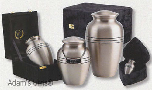 Pewter Color, Adult Funeral Cremation Urn w. Box, Assorted Sizes Available